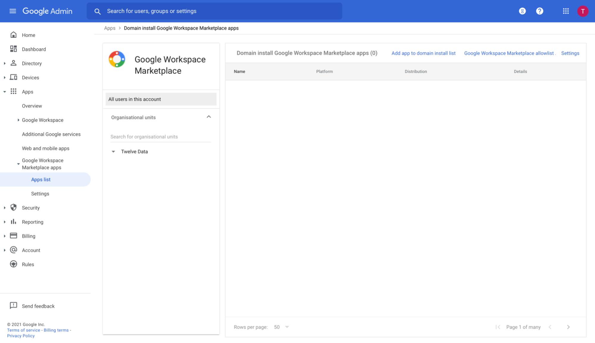 Google Admin Workspace app list