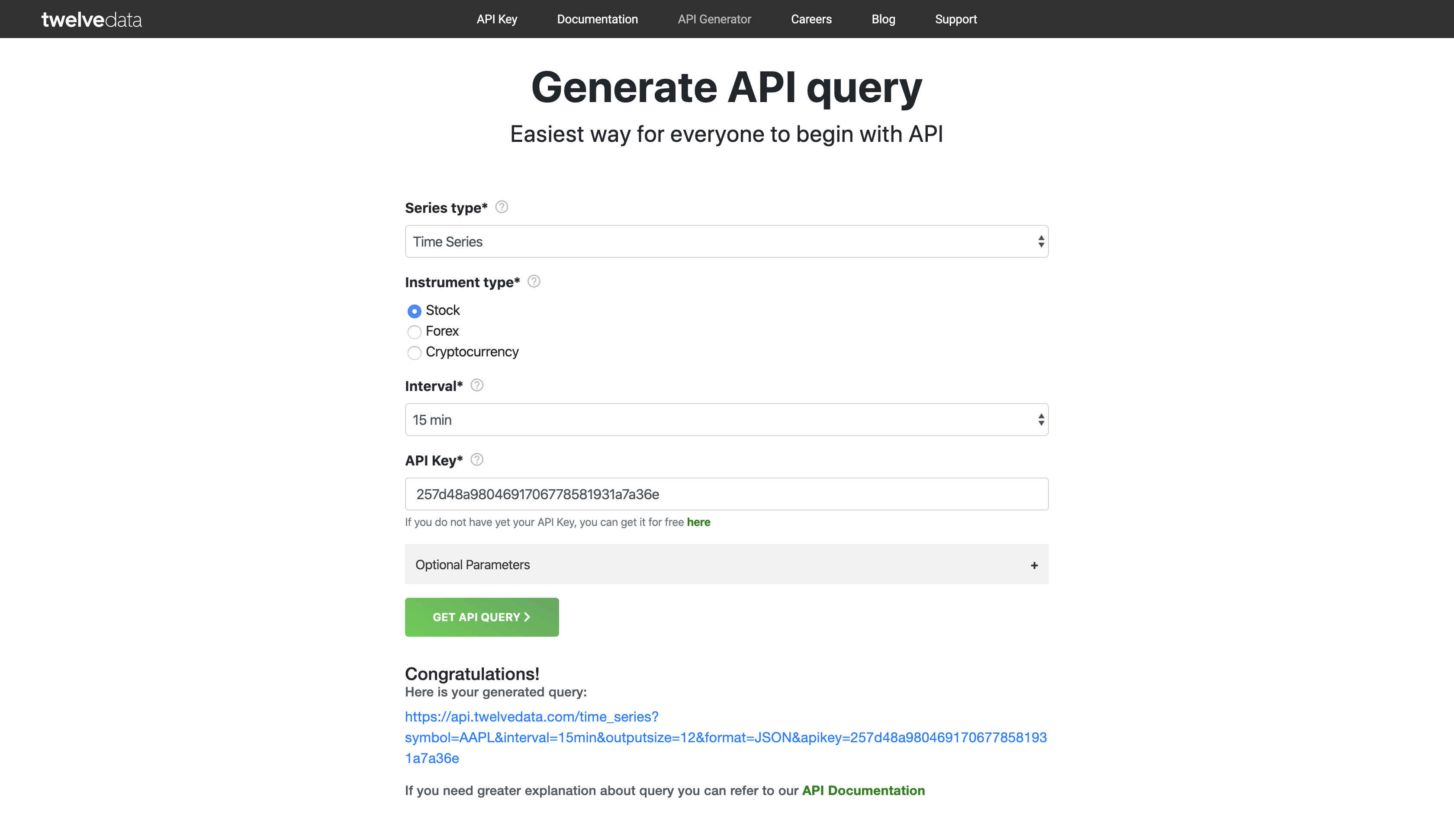 API Query Generator filled and confirmed
