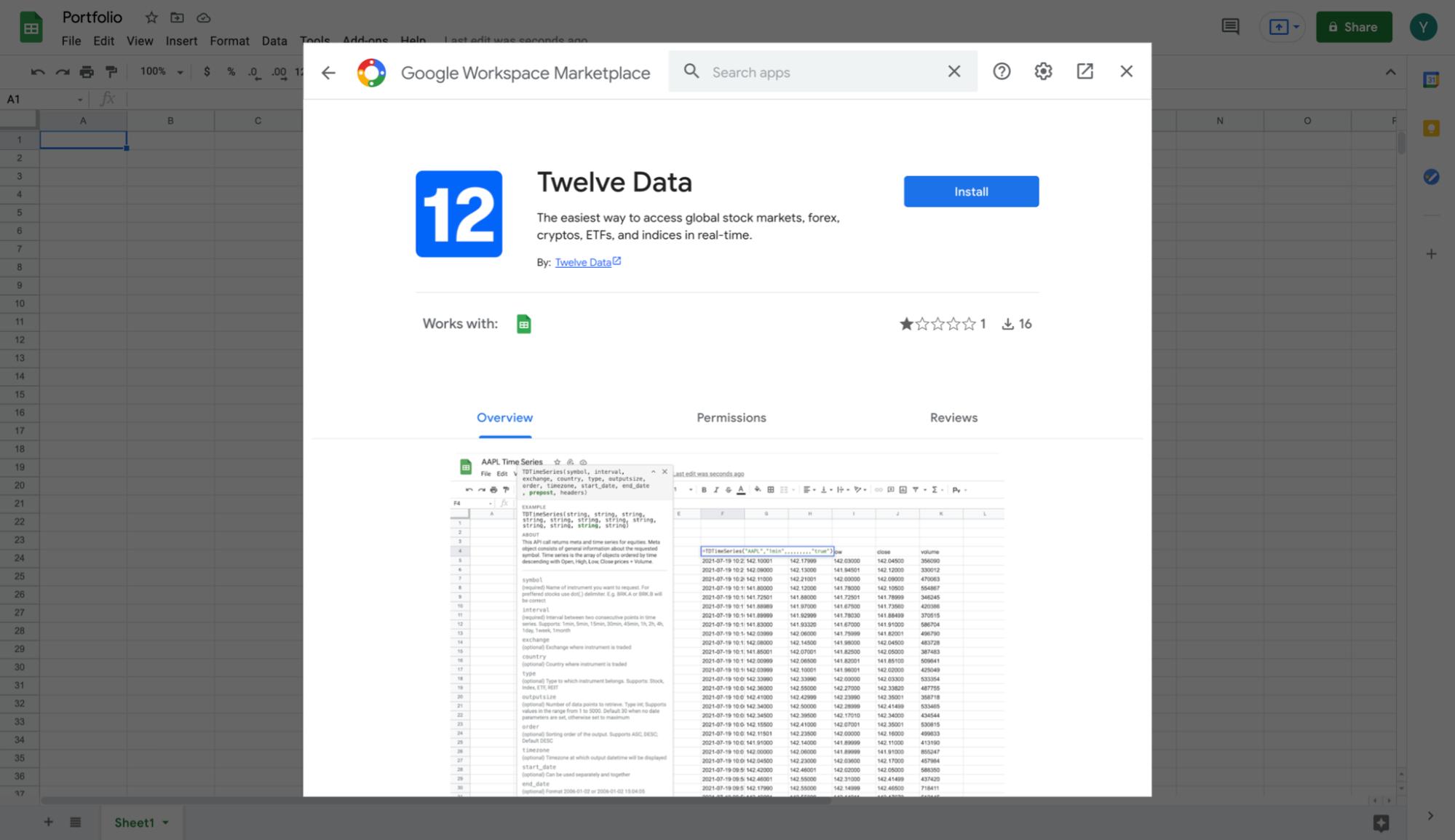 Google Workspace Marketplace Twelve Data Add-on page