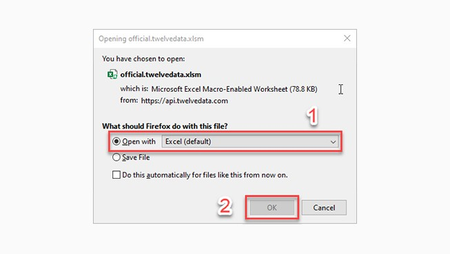 Open with Excel